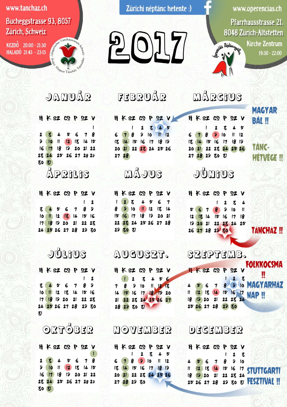 Néptáncos időpontok 2017 II. félévében